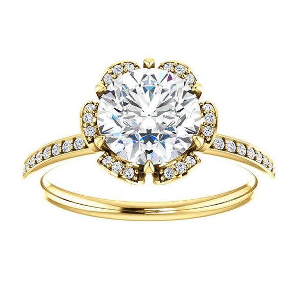 Flower Style 1.71 Carat Round Brilliant Diamond Engagement Halo Ring Yellow Gold 14K Halo Ring