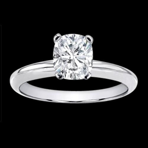 Huge 3 Ct. Cushion Diamond Solitaire Ring White Gold