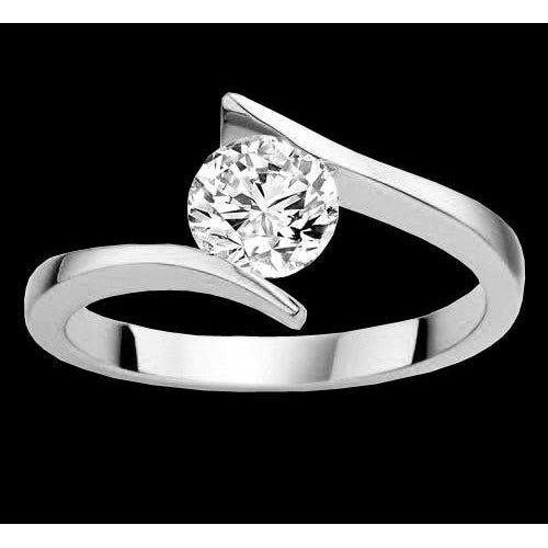 Like Tension Set Round Diamond Solitaire Ring 2 Carat Engagement Ring White Gold