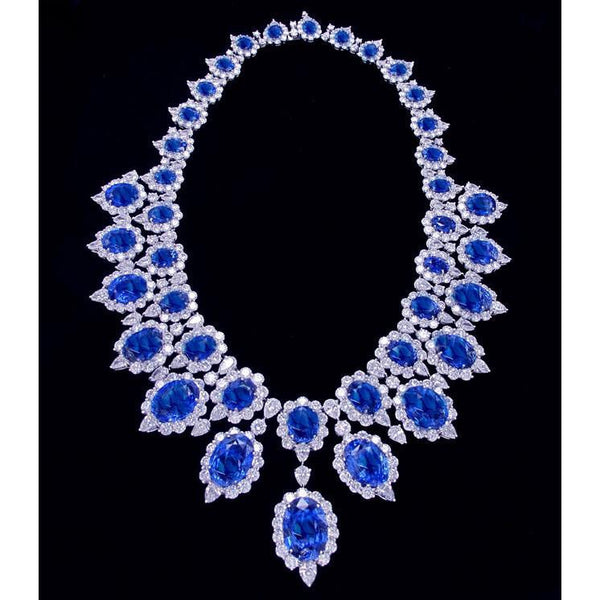 Platinum 291.17 Carats Blue Sapphire And White Diamonds Big Necklace Lady Jewelry Gemstone Necklace