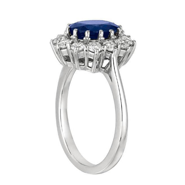 Prong Setting 3.52 Carat Oval Sapphire & Round Diamonds Halo Ring White Gold 14K