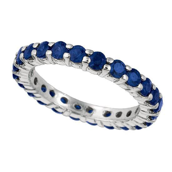 2.76 Carat Round Sapphire Eternity Band White Gold 14K New