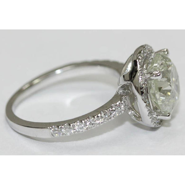 3 Carat Round Brilliant Diamonds Engagement Ring Solitaire With Accents Gold