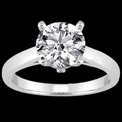 Round Diamond Solitaire Women Engagement Ring White Gold 3 Ct.