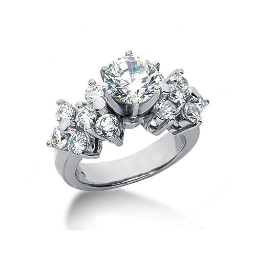 3.31 Carat Diamonds Engagement Ring White Gold New Ring