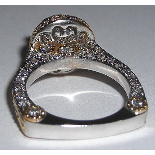 3.5 Carat Pave Diamond Engagement Fancy Ring Band Set Gold