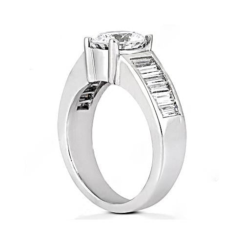 Solitaire Ring with Accents 4.25 Carat Round Diamonds Engagement Ring Baguettes Diamond Ring