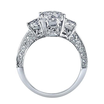 4.51 Carat Oval Diamond Three Stone Style Engagement Ring White Gold 14K