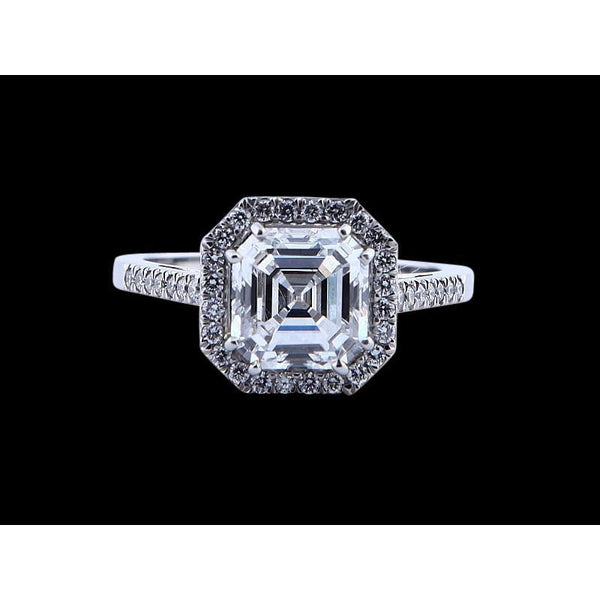 Asscher Center Diamond 2 Carat Engagement Ring New