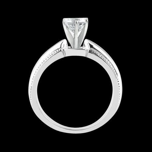 F Vs1 Diamond Solitaire Ring Engraved White Gold 1.01 Carat Diamond Ring
