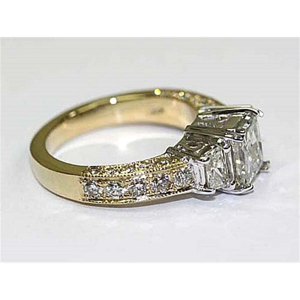 Three Stone Ring F Vs1 Three Stone Diamond Ring 2.75 Carat Diamond Gold Ring