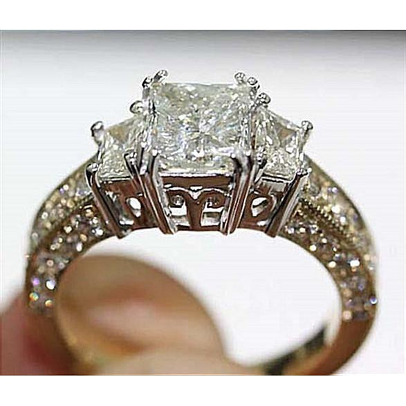 F Vs1 Three Stone Diamond Ring 2.75 Carat Diamond Gold Ring Three Stone Ring