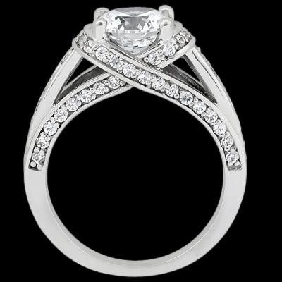 Solitaire Ring with Accents Gorgeous 2 Carat Diamonds Anniversary Solitaire Ring With Accents White Gold Jewelry New