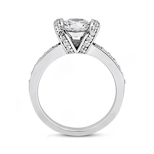 Solitaire Ring with Accents Gorgeous Engagement Ring Solitaire White Gold 18K Diamonds 1.41 Ct.