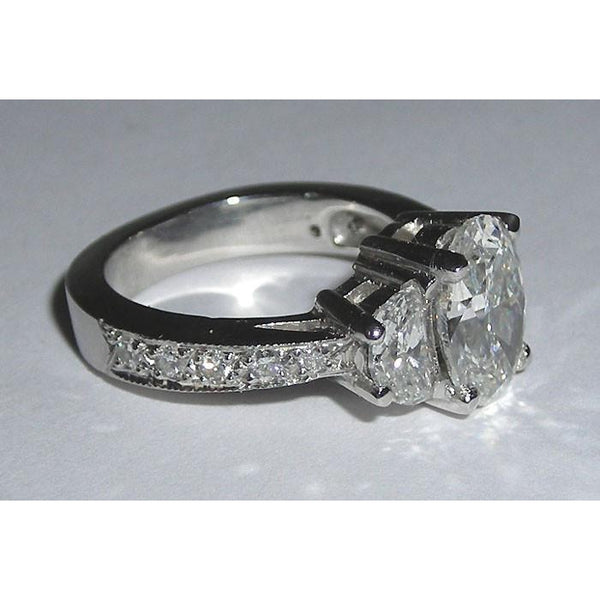 Oval Diamond  Engagement Anniversary Ring White Gold 14K 3.01 Carats Three Stone Three Stone Ring