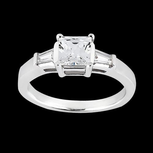 Princess & Baguette 1.20 Carat Diamond 3Stone Ring Solid White Gold 14K Jewelry