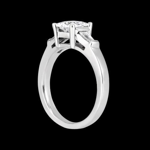Princess & Baguette 1.20 Carat Diamond Three Stone Ring Solid White Gold 14K Jewelry Three Stone Ring
