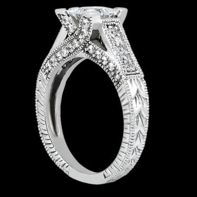 Solitaire Ring with Accents Princess Center Diamond 1.51 Carat Ring Antique Style Engagement Ring