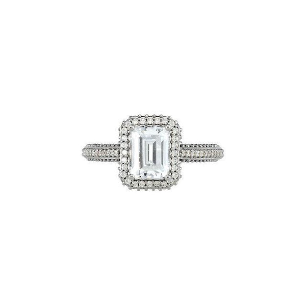 Solitaire Ring with Accents Prong Setting 2.36 Carat Emerald Diamond Engagement Anniversary Solitaire Ring Gold White 14K