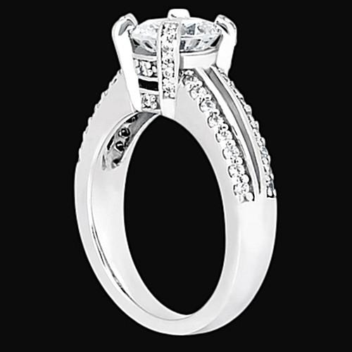 Engagement Ring Round Diamond Engagement Ring 1.45 Carats Basket Setting Jewelry White Gold