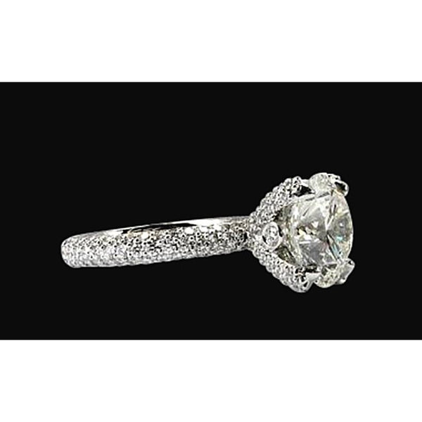 Solid 18K White Gold Engagement Ring 4.51 Carat Sparkling Halo Diamond Ring
