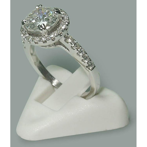 Solitaire With Accents 2.72 Carat Round Diamonds Engagement Halo Ring White Gold 14K