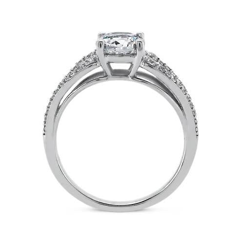 Sparkling 2.65 Carat Round Diamond Solitaire With Accents Ring White Gold 14K