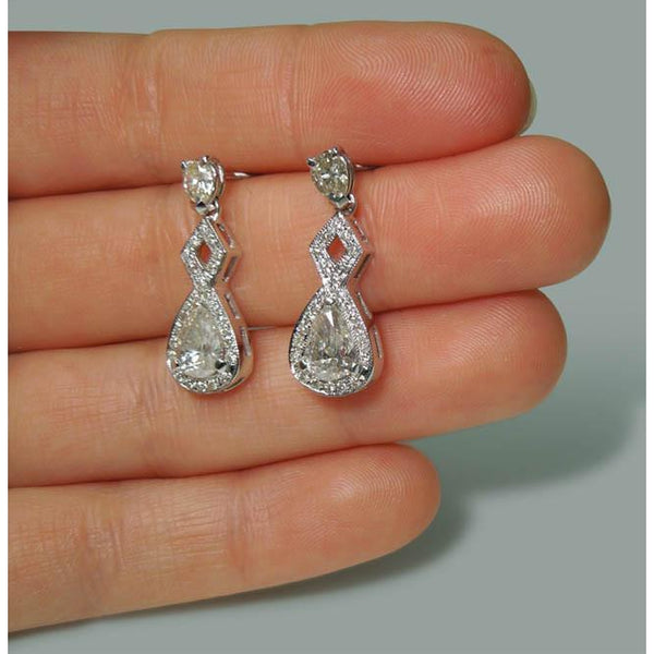 Sparkling 3.50 Carat Pear Diamond Dangle Drop Pair Earrings White Gold 14K New