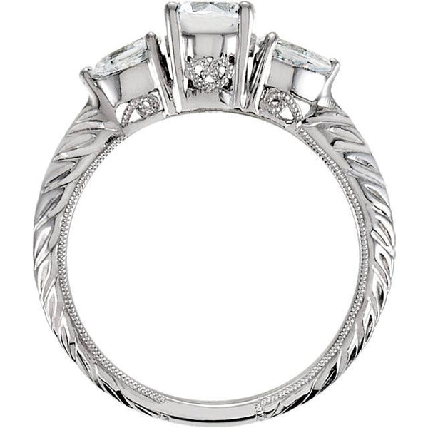 Three Stone Diamond 2.01 Carat Engagement Ring White Gold 14K Jewelry New