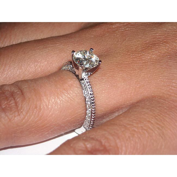 White Gold 2.25 Carat Round Micro Pave Diamonds Engagement Ring Jewelry New