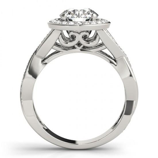 Round Diamonds Solitaire With Accents Halo Ring 2.10 Carats White Gold 14K Halo Ring