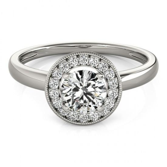 Halo Ring 1.75 Carats Round Diamond Halo Anniversary Ring White Gold 14K