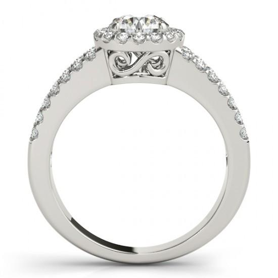 Round 1.60 Ct. Diamonds Double Row Engagement Fancy Ring White Gold 14K