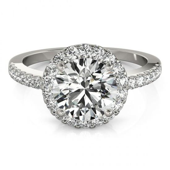 Halo Ring Sparkling Halo Round Diamond Engagement Fancy Ring 2.50 Carats White Gold 14K