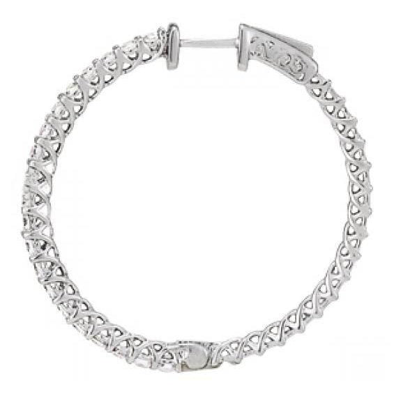 White Gold 14K Diamonds Earring 1.25 Carat Diamond Hoop Earrings Hoop Earrings
