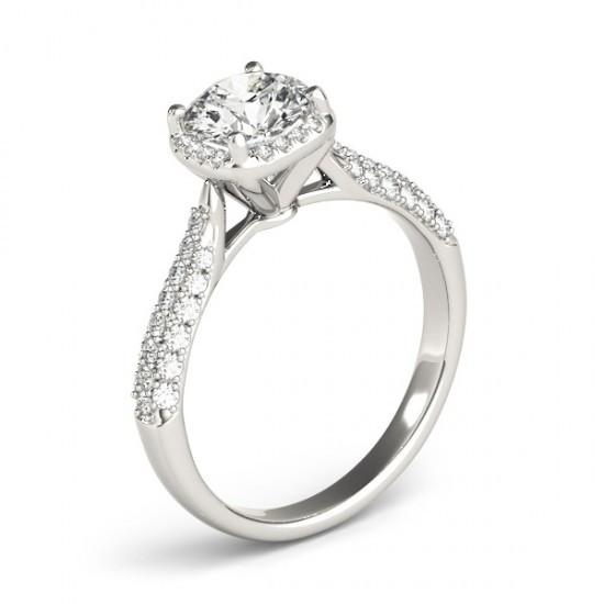 Halo Ring Halo Diamond Solitaire With Accents Ring 1.50 Carats New White Gold 14K