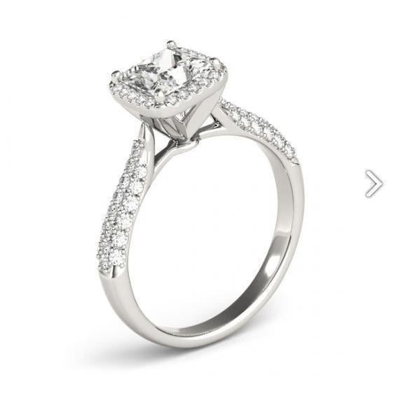 Halo Ring Halo Diamond Engagement Fancy Ring 1.75 Carats White Gold 14K New