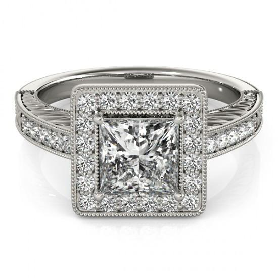 Halo Ring Princess Halo Diamond Ring With Accents 1.50 Ct. White Gold 14K