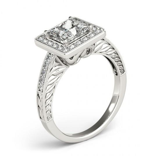 Princess Halo Diamond Ring With Accents 1.50 Ct. White Gold 14K Halo Ring