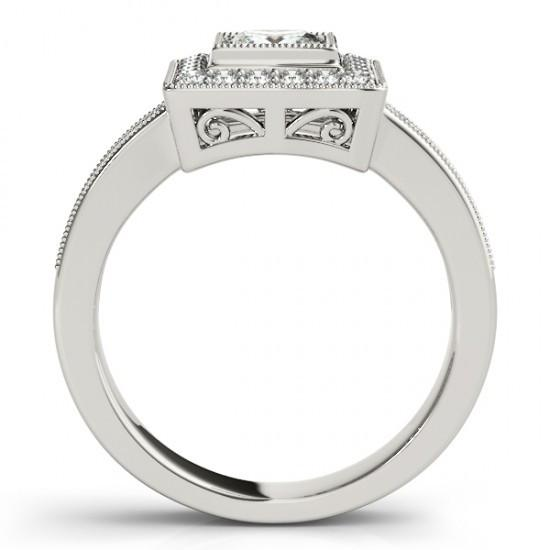 1.50 Ct. Diamonds Engagement Ring Princess & Round Diamond Ring Gold