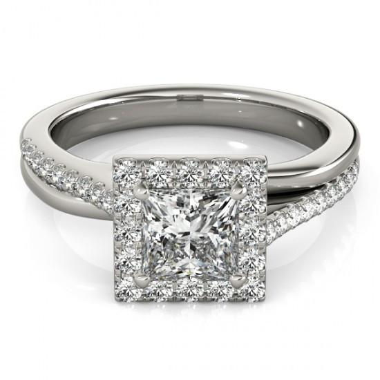 White Gold 14K 1.50 Carat Halo Diamonds Solitaire With Accents Engagement Ring