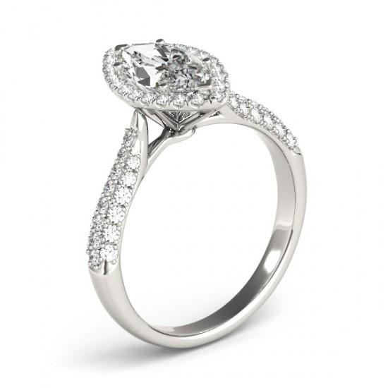 Halo Ring Marquise Diamond Engagement Halo Ring 2.25 Cts. White Gold 14K