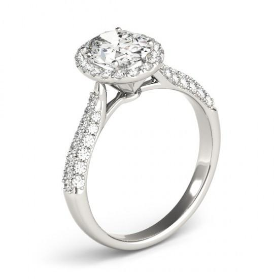 Halo Ring Oval Halo Diamond Engagement Ring 1.75 Carats White Gold 14K Jewelry