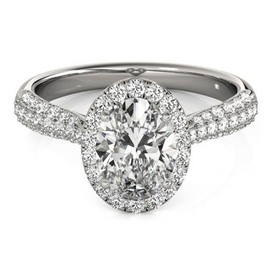 Oval Halo Diamond Engagement Ring 1.75 Carats White Gold 14K Jewelry Halo Ring