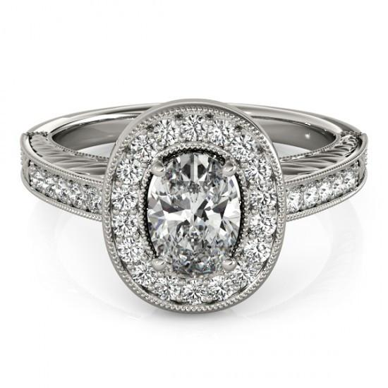 1.25 Ct. Halo Diamonds Engagement Ring Solid Gold Oval Round Diamonds