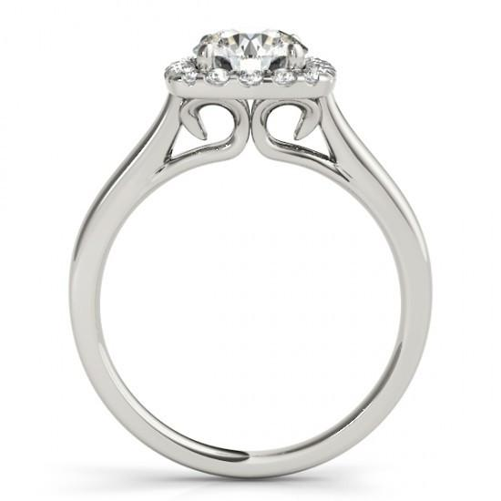1.50 Carats Round Diamonds Solitaire With Accents Halo Ring Gold 14K
