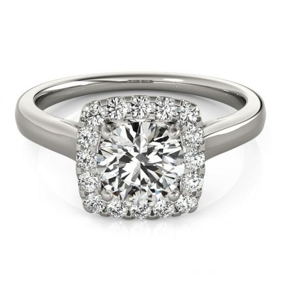 Halo Ring 1.50 Carats Round Diamonds Solitaire With Accents Halo Ring White Gold 14K