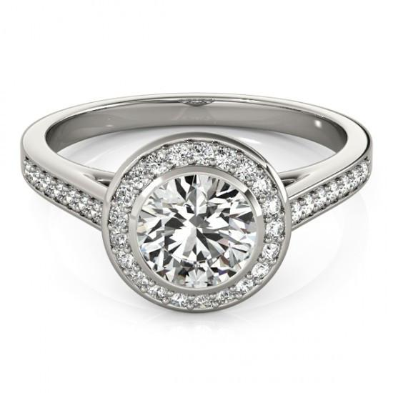 Halo Ring 1.50 Carat Round Diamond Halo Ring White Gold 14K
