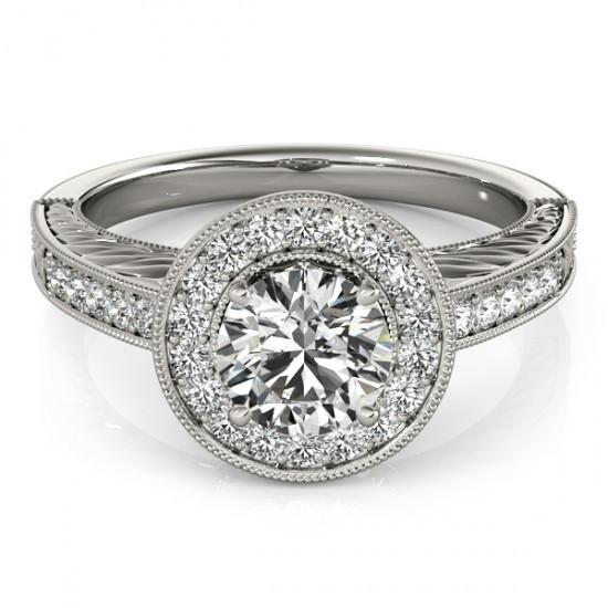 Halo Ring Halo Round Diamond Vintage Style Ring 1.25 Carats Engraved White Gold 14K