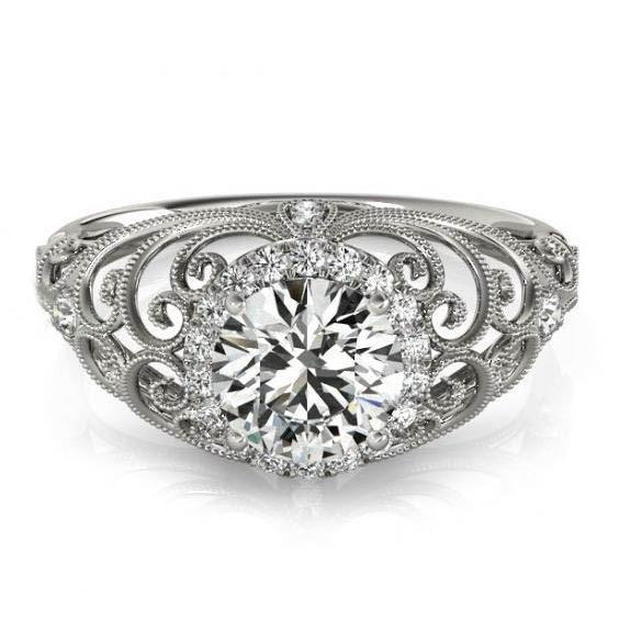Halo Ring Vintage Style Round Diamond Ring 1.75 Carats White Gold 14K
